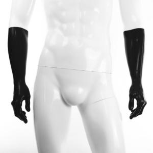 100% Latex rubber Handschuhe lang schwarz getaucht 0.4