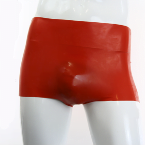 100% Latex RUBBER Männer Hotpants getaucht 0.4 rot