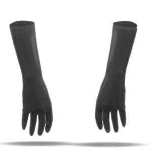 100% Latex rubber Handschuhe kurz schwarz 3D