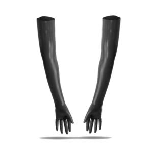 100% Latex rubber Handschuhe superlang schwarz getaucht 0.4