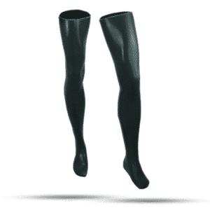 100% Latex rubber Strümpfe superlang schwarz getaucht 0.4