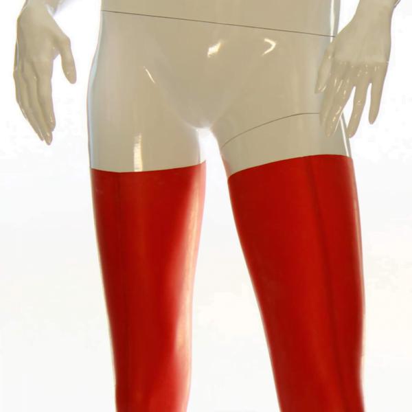 Rote Latex Strümpfe für Damen