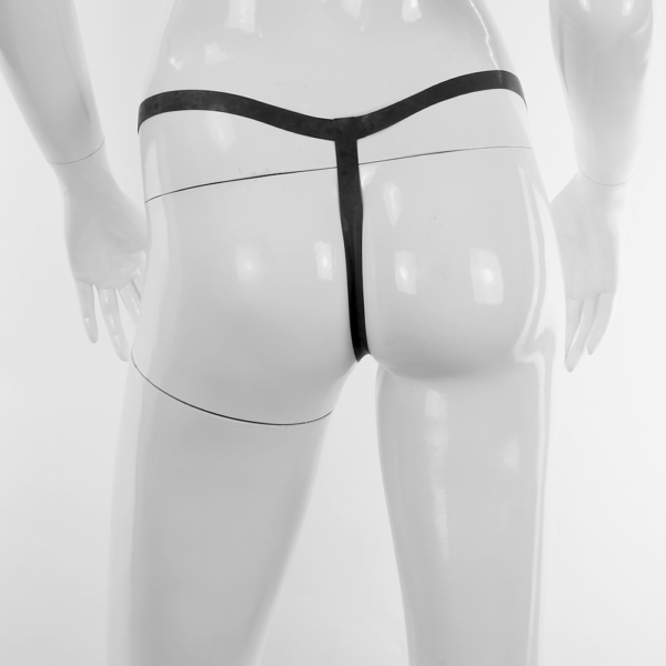 String Tanga für Damen aus Latex schwarz hinten